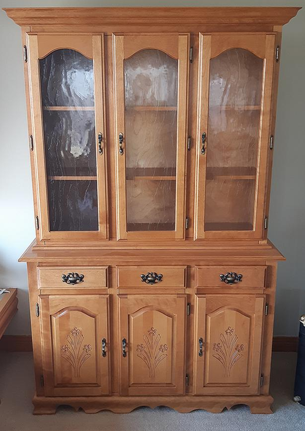 Solid Maple Wood Buffet Hutch China Cabinet-Glass, Storage, Dining Room