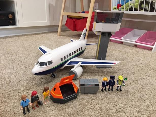 Playmobil passenger jet airplane and control tower