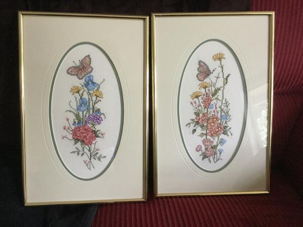 NEEDLE POINT - FLOWERS & BUTTERFLY