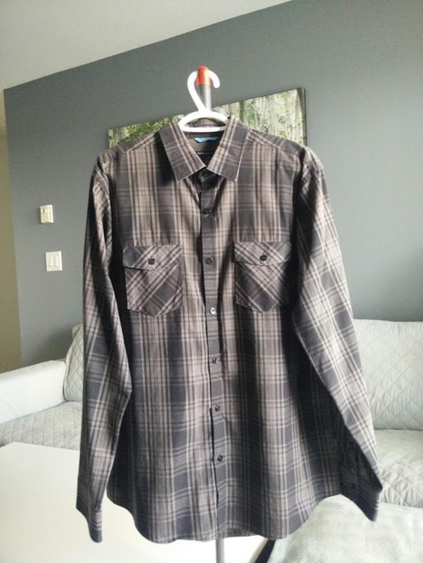 Selling Van Heusen Studio Black & Grey Button Shirt - $10