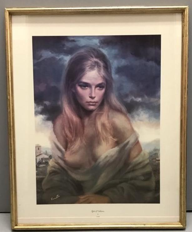 "Beautiful Print ""Girl of Valdarno"" by Vinciata, High Quality Wood Frame & Glass"