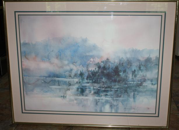 """Loons in the Mist"" watercolor print by Brent Heighton."