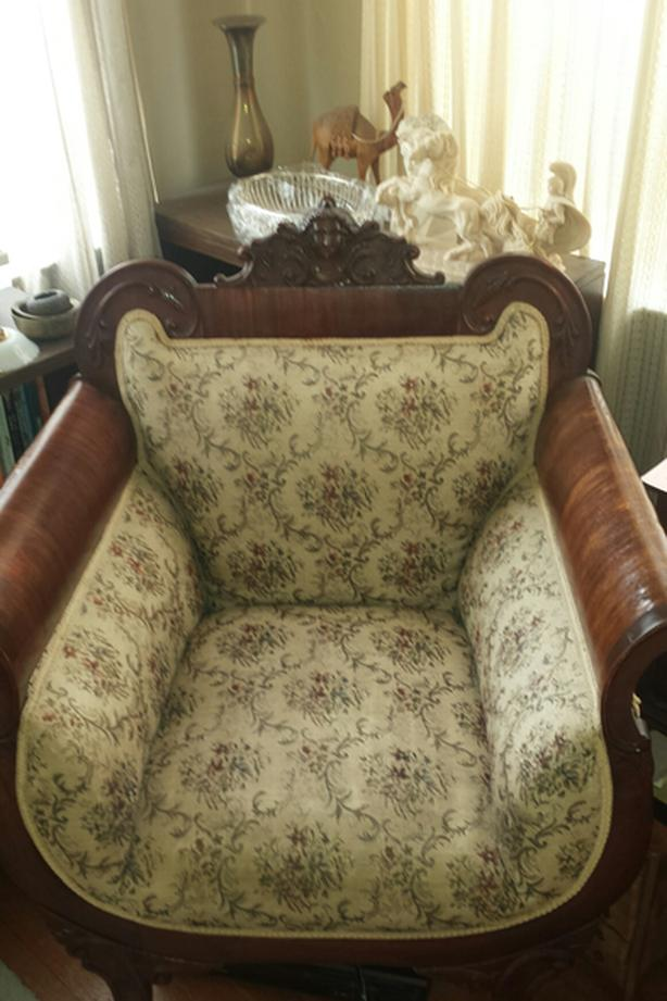 wooden and upholstered arm chair  $150 OBO