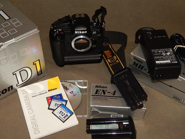Nikon D1 DSLR Digital Camera with memory cards, charger and batteries