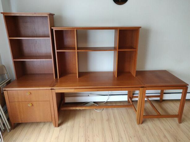 5-Piece Desk/Bookshelf/Drawer Set
