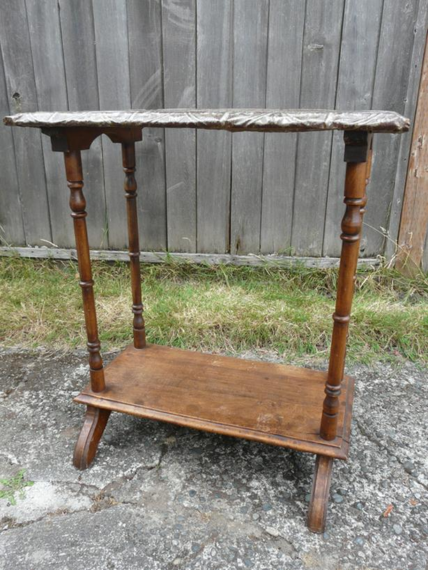 Metal Topped wood table