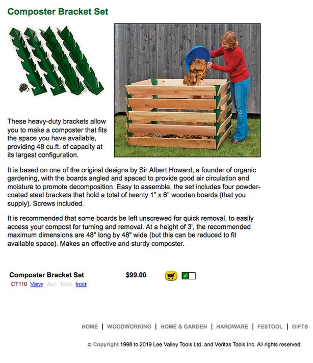 Lee Valley Compost Brackets With Boards Included Victoria City