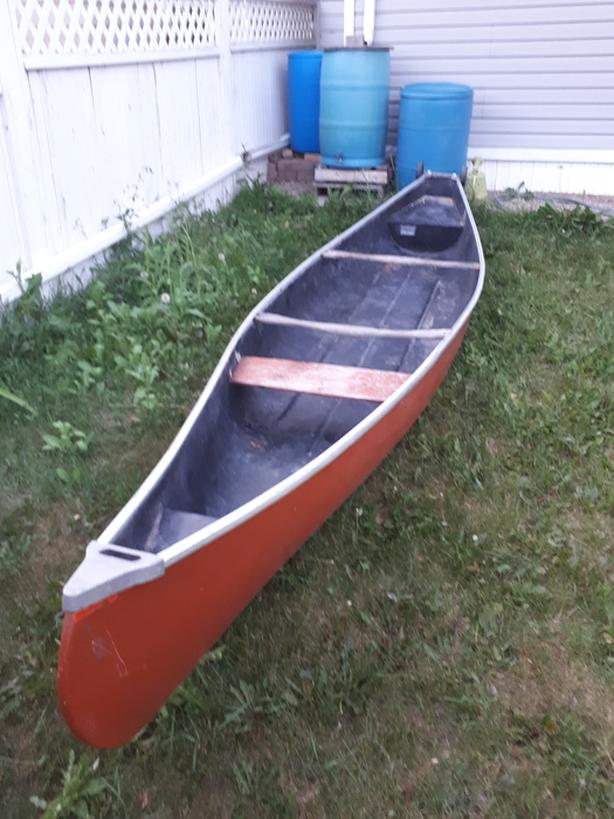 Canadian canoe  16' for sale with 2HP Evinrude engine.