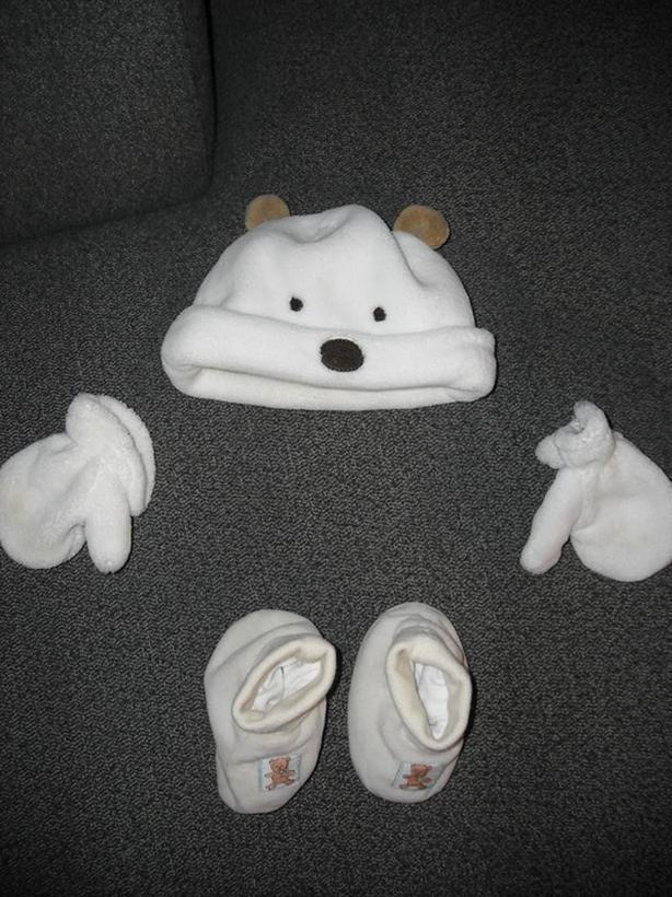 POLAR BEAR TOQUE, MITTS, and BOOTIES