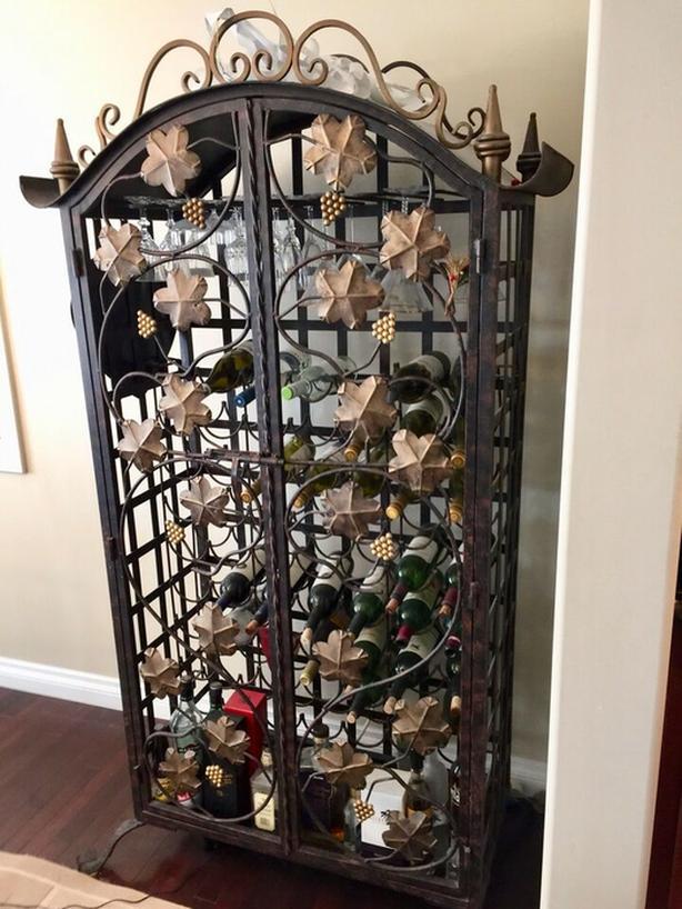 Large Decorative Iron Wine Cabinet