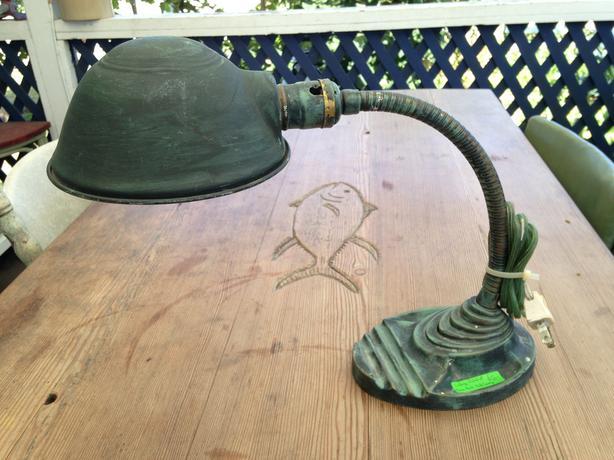 EAGLE Vintage Goose Neck Desk Lamp 1940s Cast Base Working Beauty7
