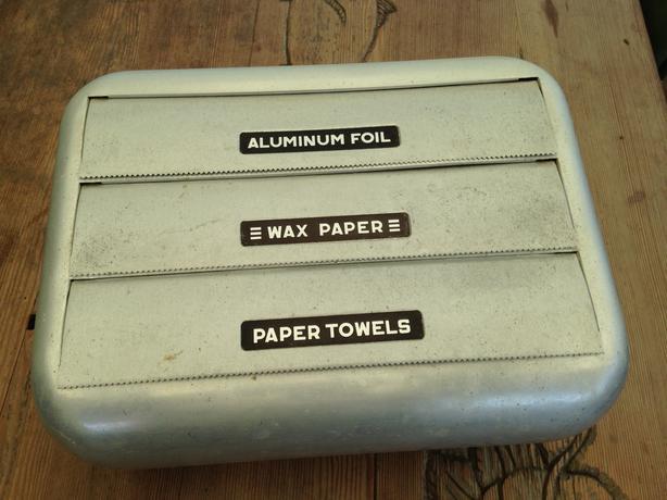 50s Vintage Wall Mount Kitchen Dispenser Foil Wax Paper Paper Towels