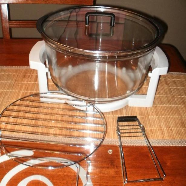  Log In needed $20 · 12-16 Quart Oven-Safe Glass Bowl with lid - w/stand &  extras