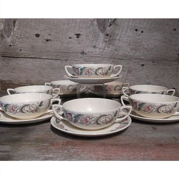 Susie Cooper double handled soup bowls and saucers in the Endon pattern