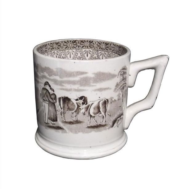 19th century brown transfer printed large mug