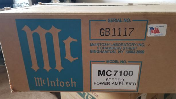 Mcintosh MC7100 Original Box