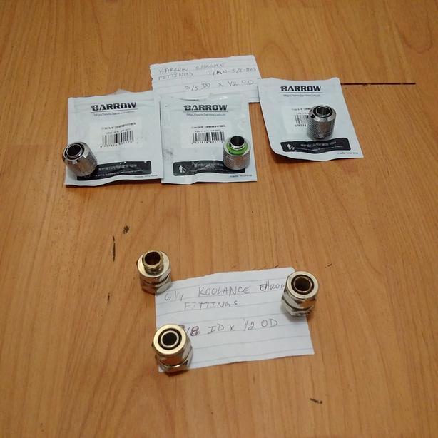 3/8 ID x 1/2 OD water cooling fittings