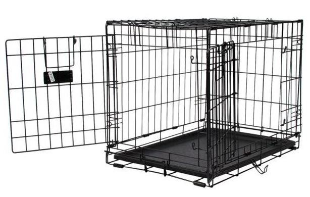 Folding double-door crate for small dog, never used, still in box