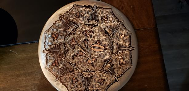 Hand Engraved Copper and Silver Plate