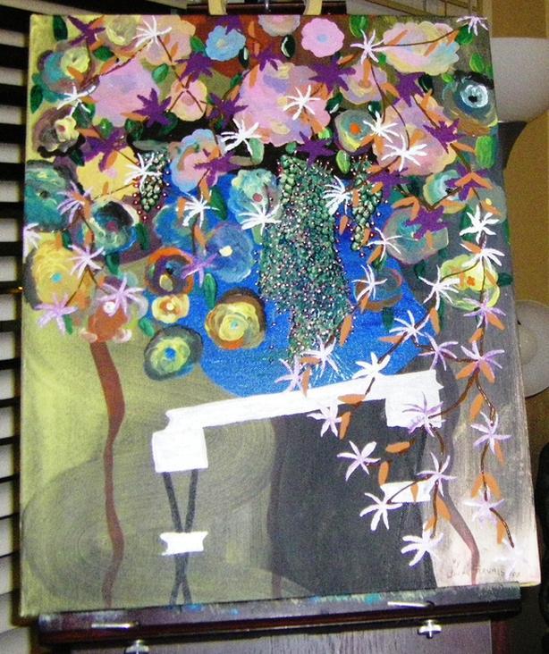 """My Garden"".  Acrylic.  16 x 20."