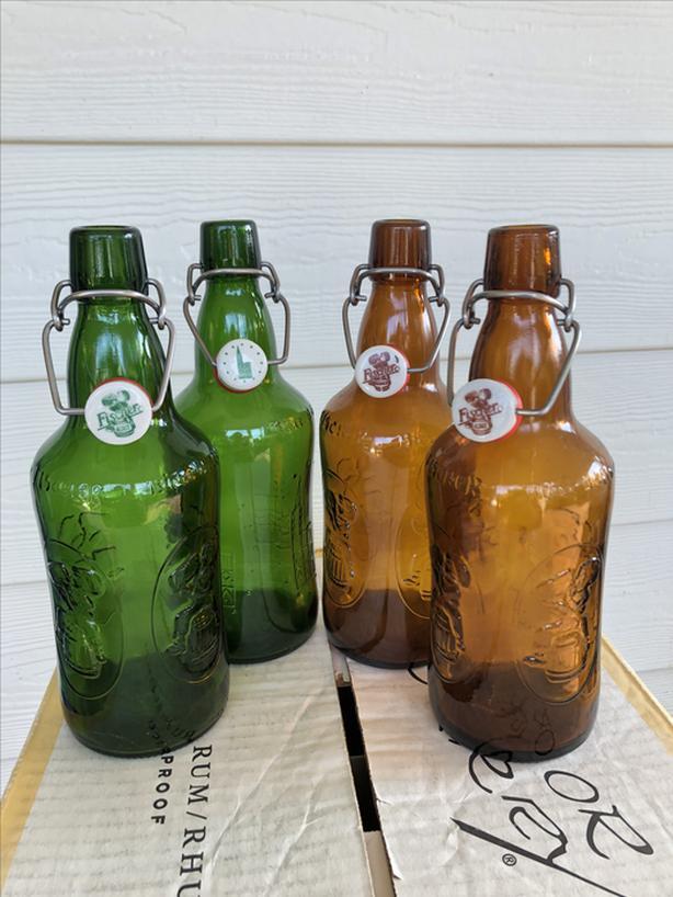 Bale top Fischer beer bottles