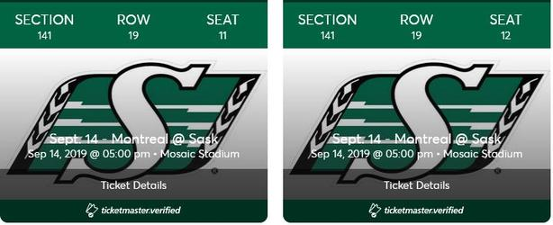 Riders vs. Montreal Sept 14th $160 (Less than face value)