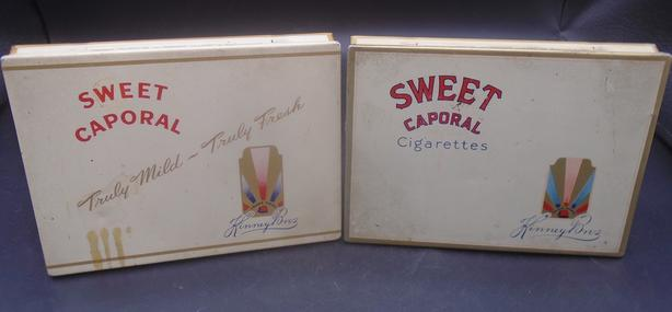 VINTAGE 1930s SWEET CAPORAL CIGARETTES FLAT-FIFTIES TOBACCO TINS