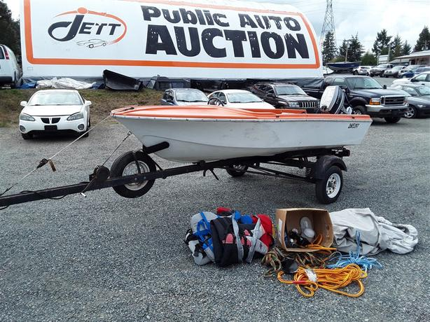 1950's Elgin Boat with 30 HP Evinrude Motor and Trailer Selling at Auction!
