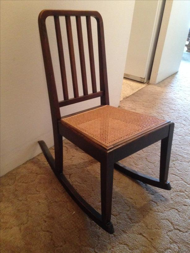 Wood Rocking Chair With Cane Seat