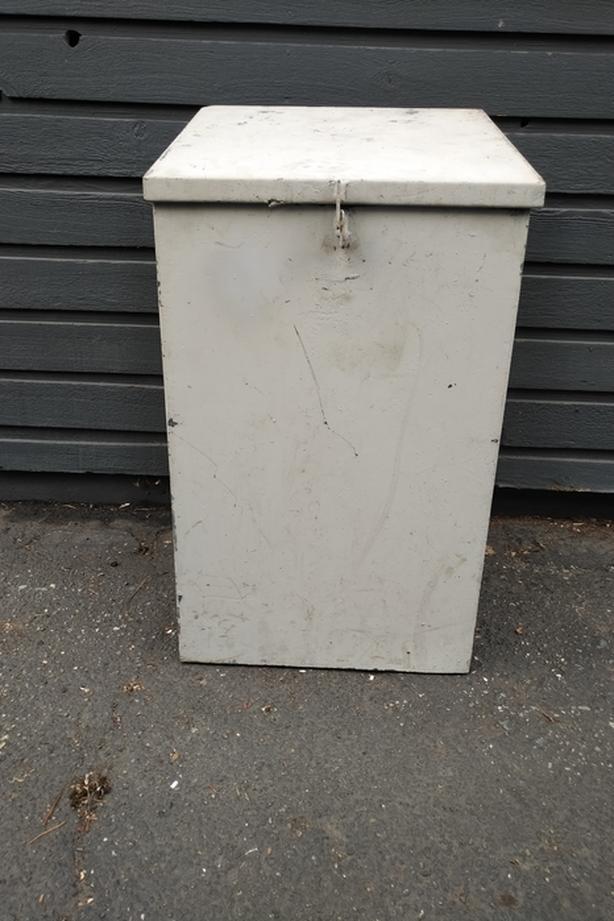Steel bin with hinged lid - Lockable Saanich, Victoria