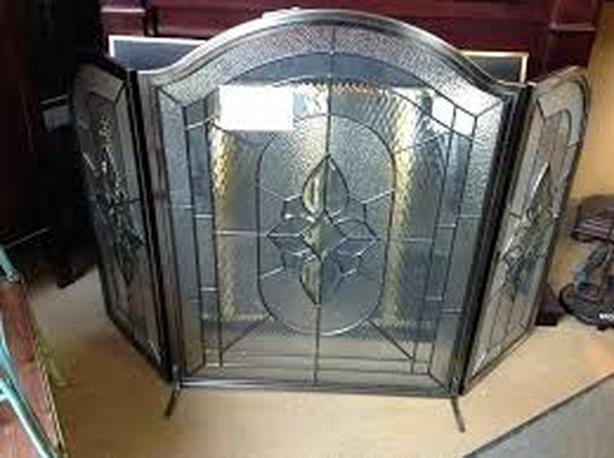 Stained Glass Tri Panel Fireplace Screen