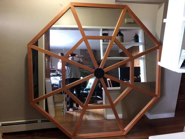 Fir Octagon with mirror inlay.