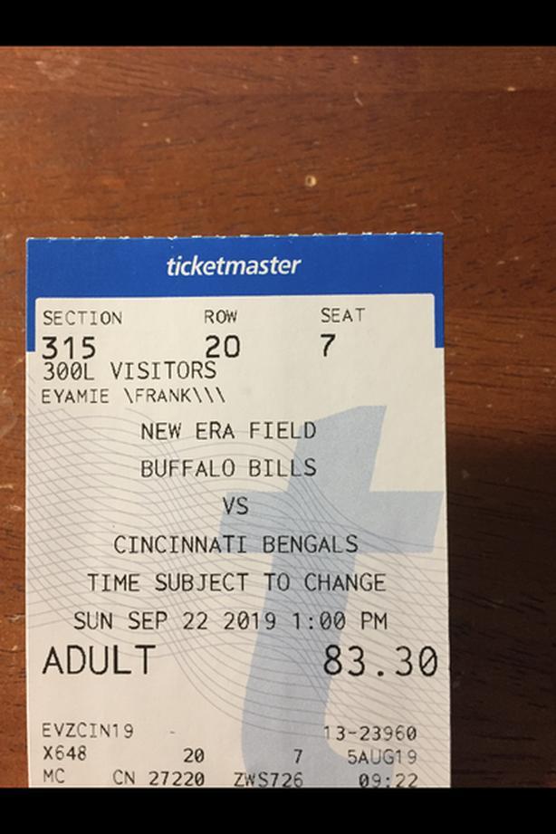 4 Buffalo Bills verse Cincinnati Bengals Sept 22 , 2019