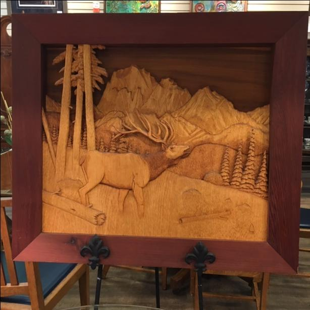 Hand Crafted Framed Wooden Art Work at The Old Attic