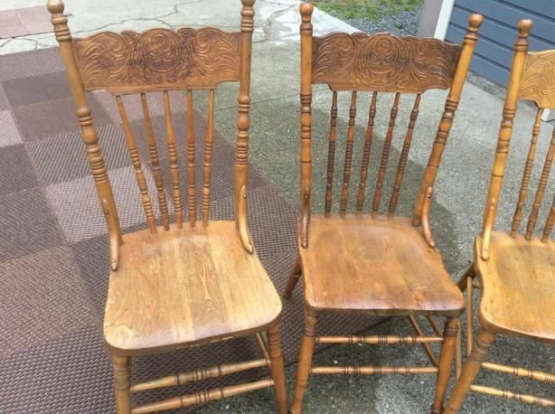 Four Antique Solid Oak Chairs