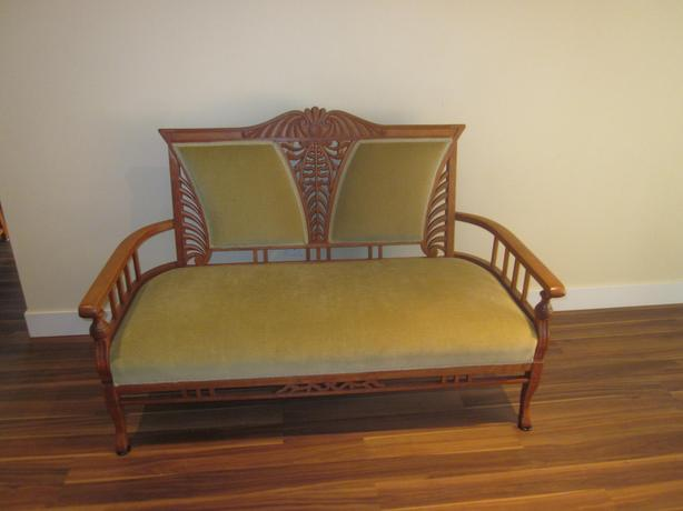 Teak love seat and armchair