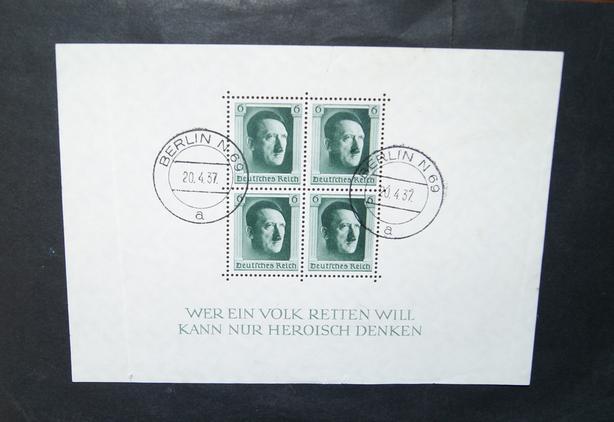 April 20 1937 souvenir stamp sheet