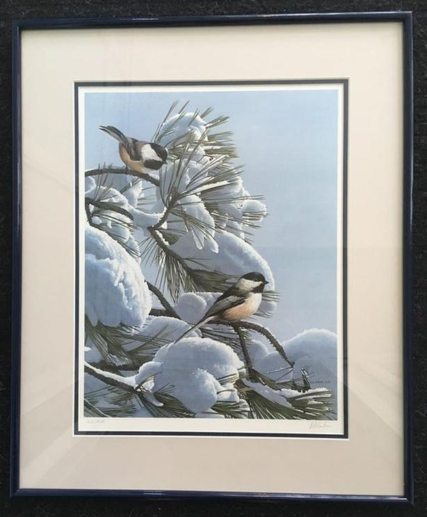 RS Parker Limited Edition Print Snow on the Pine - Chickadees Signed in Pencil
