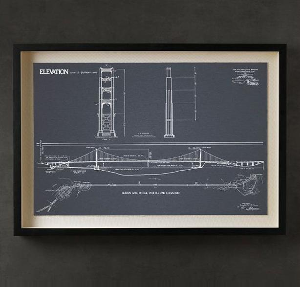 "60"" x 45"" Framed Bridge Blueprint - Restoration Hardware"