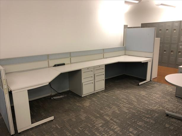 4 FREE steel office desks with integrated file cabinets