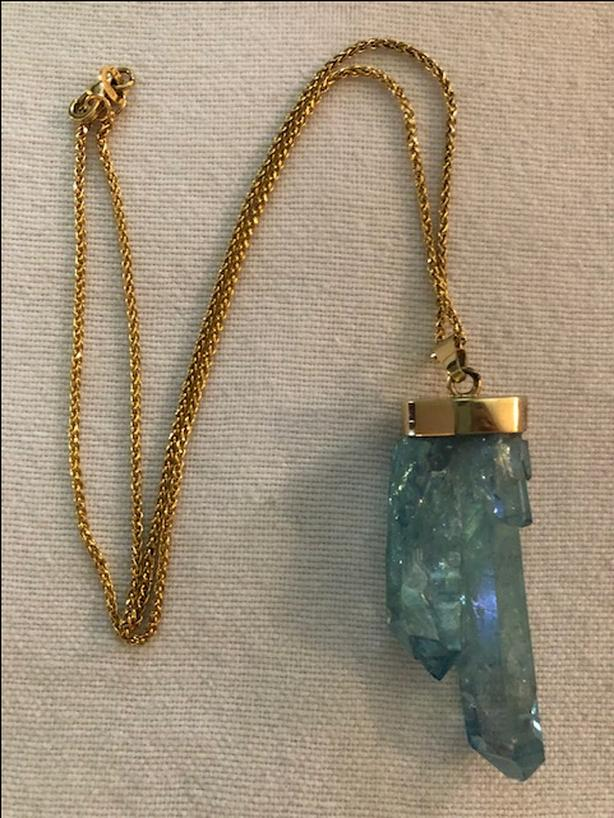 14 carat gold necklace with electroplated quartz, gold topped pendant
