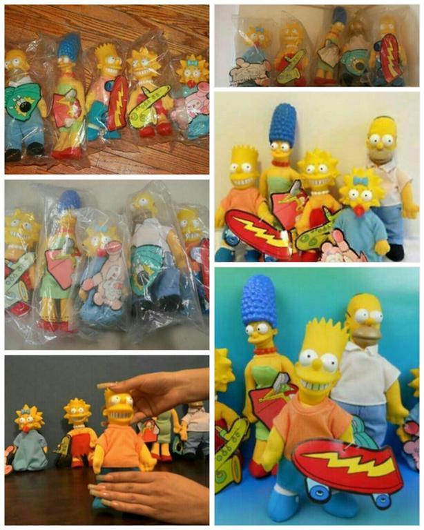 1990 Burger King Simpsons Plush Dolls - Set of 5