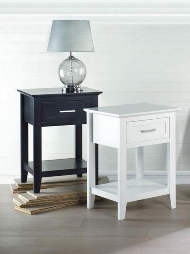 Accent Side End Table Nightstand with Drawer & Shelf Choose Black or White NEW