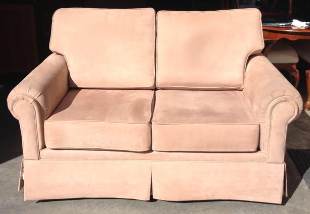 Very Nice Neutral Micro Fiber Suede Love Seat And Arm Chair