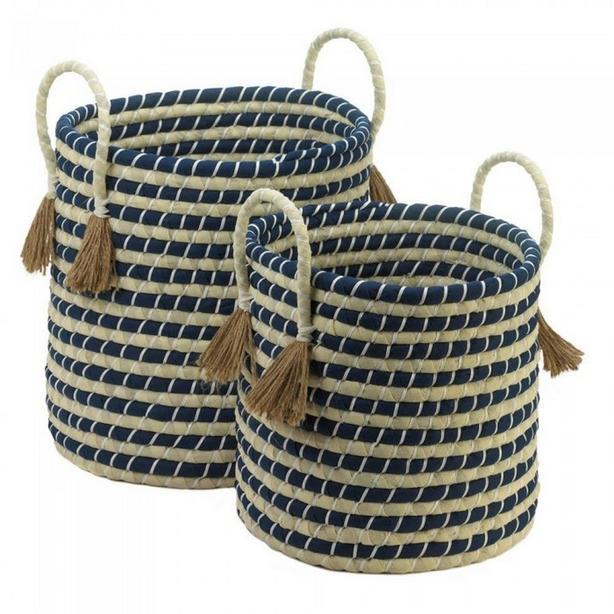 Lg&Sm 2PC Braided Storage Basket Set Round w/Handles & Tassel Accents Blue/Beige