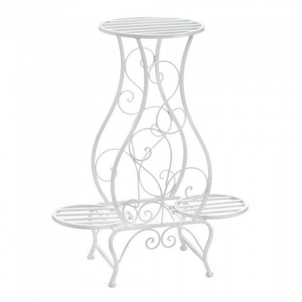 White Metal Scrollwork Plant Stand Holds 3 Plants Unique Shape New