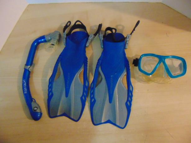 Snorkel Dive Fins Set Child Size 9-13 Shoe Body Glove and Assorted Grey Blue