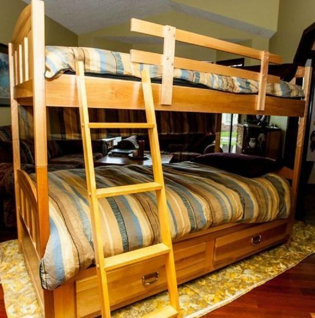 SOLID BIRCHWOOD BUNK BED SINGLE OVER SINGLE WITH DRAWERS