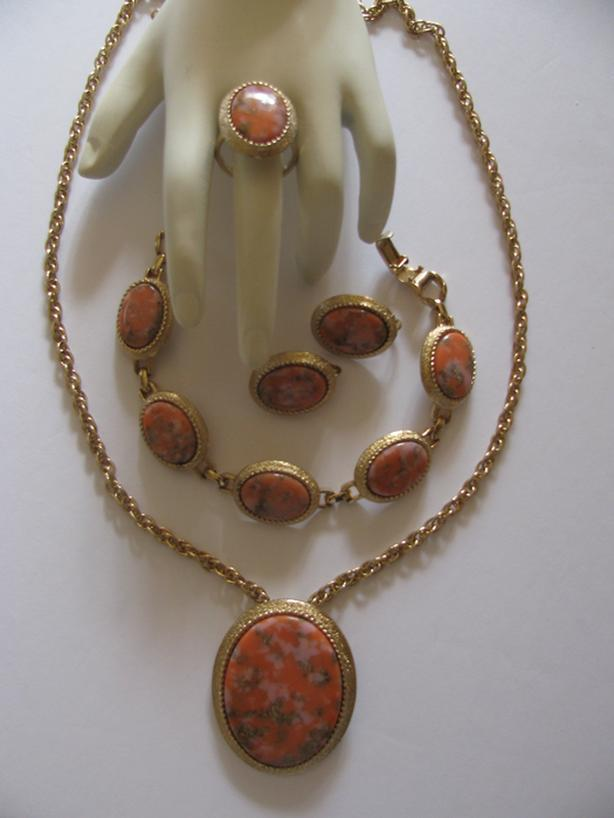 Vintage Sarah Coventry Canada Coraline Brooch Pendant Bracelet ER Chain & Ring