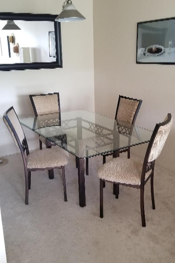 Glass/Metal Dining Table